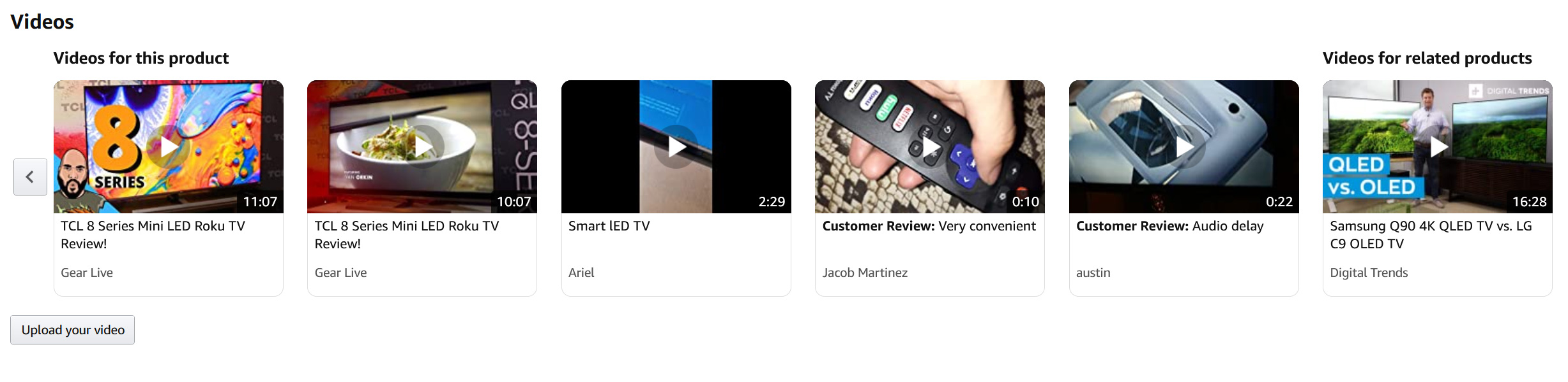 "The ""Videos"" section of an Amazon.com product page"